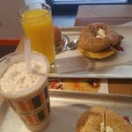 Breakfast deal and a salmon bagel with frozen chai latte