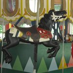 Canada-themed horse on Guelph Carousel. Note the Hudson Bay blanket