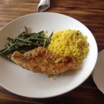 Fried Catfish with Yellow Rice and Vegetables