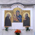 A Mural depicting the St. Maria of Grottaferrata with St. Nilus and St. Bartolomaeus (Grottaferr