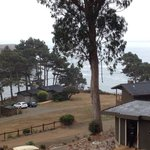View from deck of main house where reception, restaurant and cozy lounge with fireplace are loca