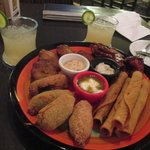 Fiesta Platter with drinks
