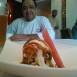 Chef Manish with one of his creations - aloo chaat will never be the same