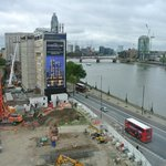 View from room 851 showing construction site, Thames River, and railways