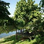 Blick vom Garten auf den Fluss