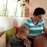our son enjoying the kids milkshake