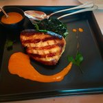Grilled Snowfish fillet with lobster cream sauce