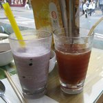 Ice Lemon Tea and Taro Smoothie