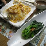 Fried Fish and Sweetcorn Rice and Stir Fried Choi Sum