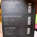 Lista de precios en comedor