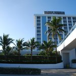 Front of hotel facing the beach and beach walkway
