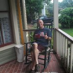 My husband enjoying coffee on the porch!