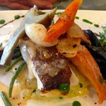 cod, salmon and mussels on crushed potatoes