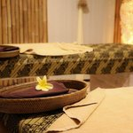 Treatment tables - sarongs - flowers