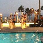 Hawaiian ceremony by the pool