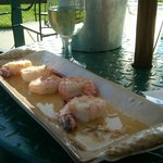 Tequila Shrimp and wine on the patio.