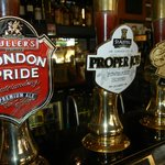 Your classic British pub tap handles