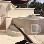 Hot tub jaccuzzi on balcony of preferred club master suite ocean front view