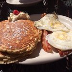 Oatmeal raspberry pancakes and eggs and bacon!