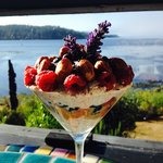 Delicious breakfast parfait al la Chef Kira served balcony side with a view of the Harbor
