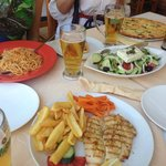 Grilled chicken file, pasta, pizza