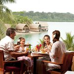 Enjoy expansive views across the lagoon while you dine