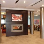 Stanless Steel columns and fireplace in the hotel lobby