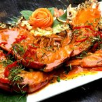 Tiger prawns in creamy red curry