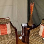 Lounge area in tent