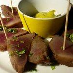 Tuna. Raw marinated in vinegraitte.