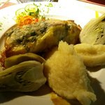 Marlin in filo pastry with mashed potatoes