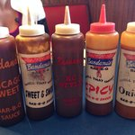 Five sauces at each table. Nice touch