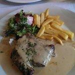 Tourist menu steak chips with roquefort cheese sauce! Flemish beef stew opposite.