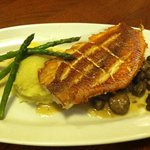 Red snapper on sauteed mushrooms with garlic mashed potatoes