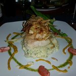 Perch on crab mash!