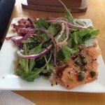 Great marlin salmon salad and churrasco bagel