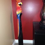 The quirky sculpture we bought at Ramon's to reminds us of our vacation ...