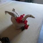 one of the many towel designs the maid did