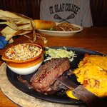 Delicious Lunch, Steak/Enchilada combo and Grilled Trout