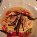 Shrimp and grits with grilled okra