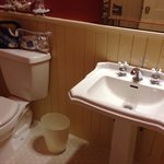 Bathroom with no towel bars or counterspace.Baker City Oregon Geiser Grand Hotel. Photo by Terry