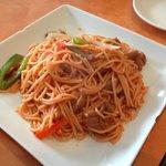 Fried chicken spaghetti