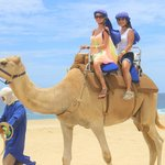Riding the camel by the beach with my mom!
