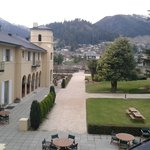 View from room of hotel, surrounding mountains and gardens