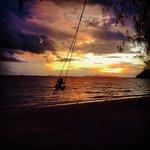 Private beach swing