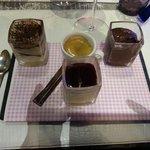 Désert : café gourmand (panna cota, tiramisu et mousse au chocolat)