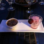 apricot crumble and cherry sorbet