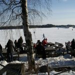 After a walk on the ice you can have a hot drink at Cafe Merenneito