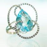 Cocktail Ring: 18K White Gold, Diamond & Blue Topaz
