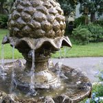 Pineapple fountain in the garden.